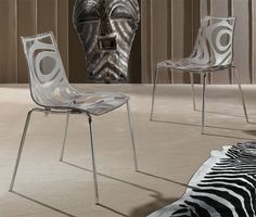 Chaise de salle à manger design en polycarbonate et piétement chromé DANA, différents coloris au