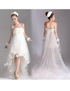 Lovely Strapless White/Ivory Tulle High Low simple Beach Wedding Dress WB0004