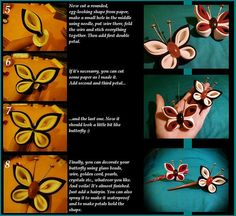 *Tsumami Kanzashi Tutorial: Butterfly* part 3 photo by Hatsu-chan^^ Diy Ribbon, Fabric Ribbon, Ribbon Crafts, Fabric Crafts, Kanzashi Tutorial, Flower Tutorial, Cloth Flowers, Diy Flowers, Fabric Flowers