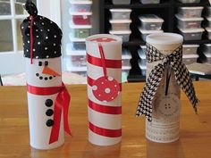 Recycle tube containers into cute Christmas cookie tubes to give away to friends and family.