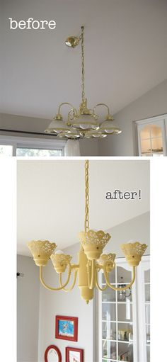The before is what I have right now... in silver which makes it a little better... Chandelier Makeover   #diy #beforeafter