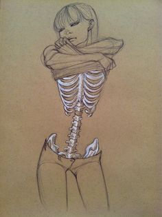 Skin and bones sketch - Skullspiration.com - skull designs, art, fashion and more drawings, body images, ribs, illustrations, bones, skeletons, skinny girls, the artist, sketches