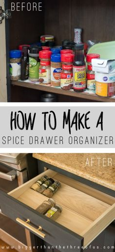 What a cool kitchen organization idea. Free up cabinet space by using this DIY Spice Drawer Organizer