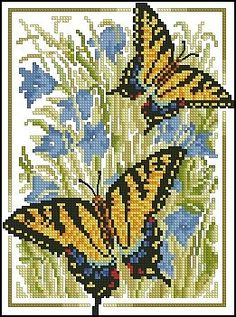 free cross stitch patterns for butterflies Cross Stitch Boards, Cross Stitch Art, Cross Stitch Animals, Cross Stitching, Cross Stitch Embroidery, Butterfly Cross Stitch, Butterfly Embroidery, Cross Stitch Flowers, Funny Cross Stitch Patterns