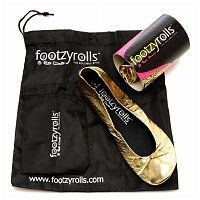 Footzyrolls The Rollable Shoe, Glittery Gold, Extra Small 1 pr. Pair of beautifully designed rollable ballet flats in gold that go with any outfit! These shoes are your spare pair of shoes...always there just in case...pop them into any bag. Stylish and practical. When you are out on the town or just have worn the wrong shoes out for the day...Footzyrolls to the rescue! Rollable and foldable Fits in the smallest bag Waterproof and skidproof sole Great for travel, great to wear in the…