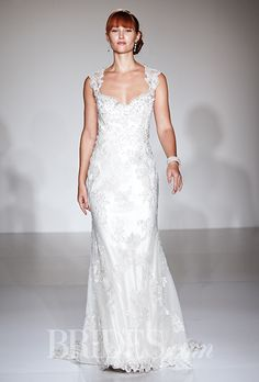 """Brides.com: . """"Jade"""" cap sleeve Swarovski crystal embroidered lace sheath wedding dress with a sweetheart neckline, Maggie Sottero"""