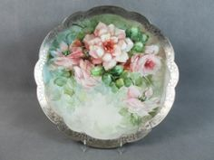 c1900 T&V LIMOGES Lg CHARGER/PLAQUE Pink ROSES & SILVER OVERLAY