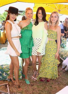 Fantastic four: Eiza Gonzalez, Karolina, Adriana and Ana De Armas - pictured from left to right - posed for a snap together