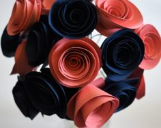 Coral and Navy Wedding, Wedding Flowers, Paper Flower Bouquet, Paper Roses - Modernes Rustic Bridal Bouquets, Silk Bridal Bouquet, Wedding Bouquets, Crepe Paper Flowers, Paper Roses, Flower Paper, Paper Wedding Decorations, Wedding Paper, Small Bouquet