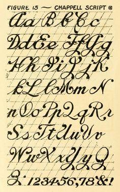 Chappell Script #alphabet | Hand lettering (1912), McClellan Chappell, Chappell Art School, Oklahoma City