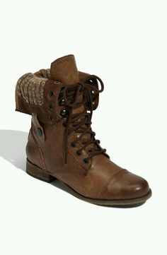 Steve Madden - Cablee - Brown Leather Foldover Combat Boots