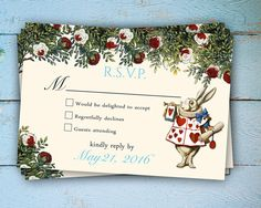 Alice in Wonderland RSVP card Wonderland RSVP by Hottomatoink2