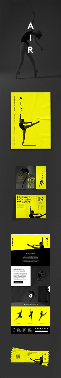 Air, danse, dance, graphic design, festival, website design, poster, leaflet, tickets, yellow, black, gray, Montreal