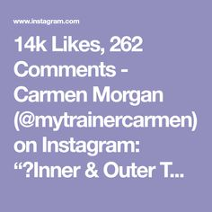 """14k Likes, 262 Comments - Carmen Morgan (@mytrainercarmen) on Instagram: """"💥Inner & Outer Thigh Workout💥 I'm using 5lb ankle weights, but that's optional. - - 1. Leg Lift +…"""""""