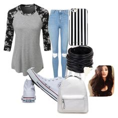 """""""Back To School"""" by lolblingqueen on Polyvore featuring LE3NO, Topshop, Converse, MICHAEL Michael Kors and Saachi"""