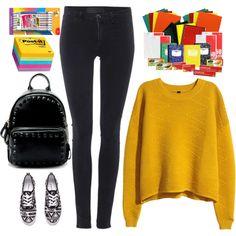 back to school by ecem1 on Polyvore featuring H&M, Samsøe & Samsøe, BIC, women's clothing, women's fashion, women, female, woman, misses and juniors