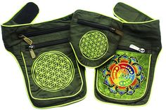 Amazon.com | ImZauberwald Attributes Crop Circle Beltbag Flower of Life UV Active 5 Pockets | Waist Packs