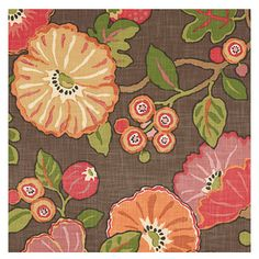 Red & Orange Modern Floral Fabric - Large playful floral in bright reds, oranges & browns. Feel the poppy love with this modern print.Recove...