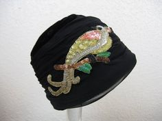 1930's velvet flapper cloche hat black velvet w/ by cricketcapers