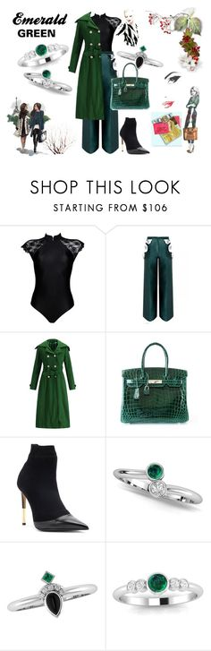 """ green"" by ascheron-jewels on featuring OuiHours, Hermès i Black Booties, Emerald Green, Fashion Rings, Balmain, Jewels, Shoe Bag, Polyvore, Stuff To Buy, Shopping"