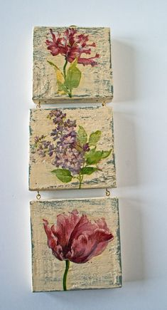 A triple wall hanging depicting beautiful vintage style images of Lilac and Tulips. The item has been made using reclaimed wood which has been painted in a light olive green emulsion, over painted with a dark cream pale yellow emulsion and distressed. Decoupage Art, Decoupage Vintage, Shabby Vintage, Inspiration Artistique, Pallet Art, Hanging Art, Painting On Wood, Wood Art, Wood Crafts