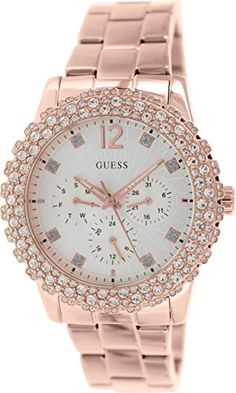 GUESS Womens U0335L3 Rose GoldTone MultiFunction Watch with Genuine Crystal Accented Case ** Want additional info? Click on the image.