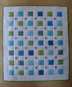 Green and Blue Boy BABY QUILT modern squares. $160.00, via Etsy.