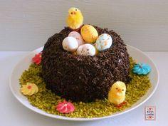 Una torta a forma di nido, decorata con codette di cioccolato, ovetti, granella di pistacchi ecc.