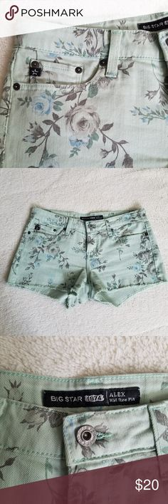 "🌟SOLD🌟BIG STAR Floral Cutoff Shorts Big Star ""Alex"" Mid Rise fit shorts. Cutoff bottom hem, 5-pocket style, zipper and button closure. These shorts are a mint green and feature an vintage faded floral pattern.  31"" waist 8.5"" rise 2.5"" inseam good, pre-owned condition. Big Star Shorts Jean Shorts"