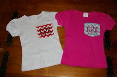 Girls Pocket Tee Chevron Monogrammed TShirt by YounInkBoutique, $17.00