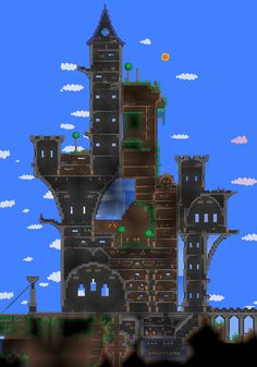 I want to play more Terraria. Minecraft Blueprints, Minecraft Designs, Minecraft Creations, Cool Minecraft, House Blueprints, Minecraft Buildings, Minecraft Ideas, Terraria House Design, Terraria House Ideas