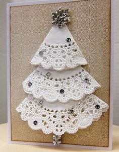 Sparkly doily Christmas tree card from Paradise Scrapbook Boutique's Holiday Gi. Sparkly doily Christmas tree card from Paradise Scrapbook Boutique's Holiday Gift Workshop, in C Christmas Card Crafts, Homemade Christmas Cards, Christmas Scrapbook, Christmas Cards To Make, Christmas Art, Christmas Projects, Handmade Christmas, Homemade Cards, Holiday Crafts