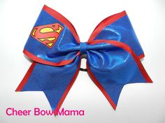 Cheer Bow made with Superman symbol by CheerBowMama on Etsy