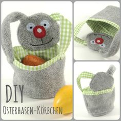 Sewing pattern for easter bunny basket. Love Sewing, Sewing For Kids, Baby Sewing, Diy For Kids, Sewing Toys, Sewing Crafts, Diy Backpack, Small Sewing Projects, Animal Crafts