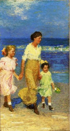 Edward Potthast - A Walk on the Beach - oil on canvas (Private collection)