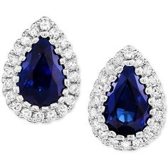 Sapphire (9/10 ct. t.w.) & Diamond (1/8 ct. t.w.) Stud Earrings in 14k... ($399) ❤ liked on Polyvore featuring jewelry, earrings, sapphire, round diamond earrings, sapphire stud earrings, sapphire earrings, 14k white gold earrings and stud earrings