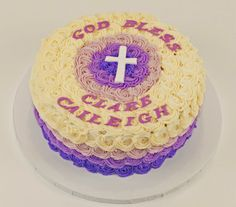 Sugarbird Sweets and Cakery - Purple Ombre Christening Cake