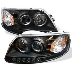 Black Expedition Osram LED Halo DRL Daytime Running Lights Front Projector Headlights Headlamps Replacements Both Driver Passenger Sides Left Right Pair Set w/ Low Beam 9005 High Beam Bulbs 1998 1999 2000 2001 2002 97 98 99 00 01 02 03 Custom Headlights, Projector Headlights, Car Headlights, Led Projector, 2003 F150, Headlight Assembly, Tonneau Cover, Ford Expedition, Car Ford