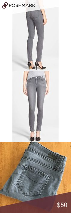 "PAIGE Skyline Skinny in Grey PAIGE Skyline Skinny in Grey wash. Size 26. 7.5"" rise, 30.5"" inseam. Excellent condition. A gorgeous dusty grey wash is hand distressed to create tonal highs and lows along the streamlined silhouette of super-stretchy mid-rise jeans that just might change the way you think about denim.  Using the latest in performance-fiber technology, TRANSCEND denim redefines luxury, recovery and comfort with a fabrication that provides a flawless fit without stretching out…"