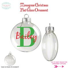 Monogram Flat Glass Christmas Ornament by LolaDarlingDesigns