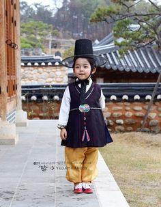 Hanbok Boy Dress Korean traditional Korea Baby 1st birthday Party Black Yellow…
