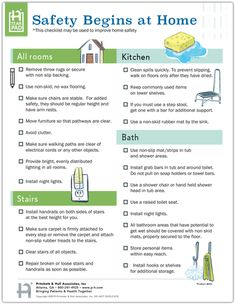 This interactive 2 sided checklist may be used to improve home safety. Provides the important steps for preparing both indoors and outdoors. Home Safety Checklist, Home Health, Stairways, How To Remove, Outdoors, Indoor, Education, Nursing, Success