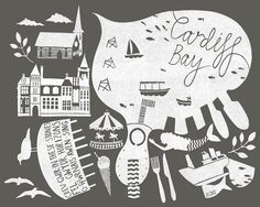 Archival Cardiff Bay print 40X50cm Cardiff Bay, Cardiff Wales, Art For Art Sake, Stephanie Cole, Handmade Gifts, Illustration, Projects, Inspiration, Digital