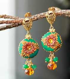 Bright Vivid colored earrings with Green Onyx and by Peelirohini, $52.00