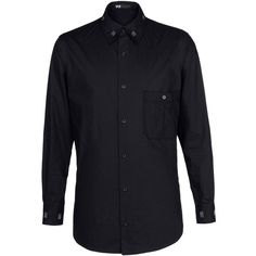 Y-3 Bar Tack Shirt ($238) ❤ liked on Polyvore featuring men's fashion, men's clothing, men's shirts, men, shirts, men's clothes, black, mens apparel, mens striped button down shirts and mens collared shirts