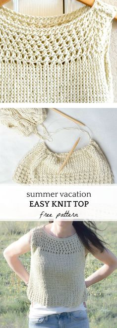 Free Knitted Top Patterns Tops Tanks Tees Knitting Patterns In The Loop Knitting. Free Knitted Top Patterns Summer Vacation Knit Top Pattern Mama In A. Summer Knitting, Lace Knitting, Knit Crochet, Easy Knitting Patterns, How To Purl Knit, Top Pattern, Free Pattern, Crochet Clothes, Super Easy