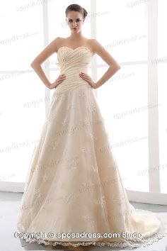 2013 Style Champagne Sweetheart A-line Ruching Lace Bridal Dress On Sale