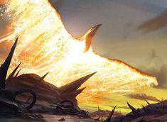 Kuldotha Phoenix MTG Art by Michael Bierek Foto Fantasy, Fantasy Kunst, Fantasy World, Dark Fantasy, Mythical Creatures Art, Magical Creatures, Sea Creatures, Rpg Cyberpunk, Dragons