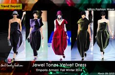 Velvet Dress in #Jewel #Tones #Fashion Trend for Fall Winter 2013   Emporio Armani Fall Winter 2013 #mfw  March 5th, 2013  7:41 P.M. GMT