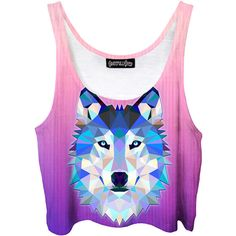 Wolf Crop Top Pink Animal Tank Top Digital Wolf Art Girly Summer... ($40) ❤ liked on Polyvore featuring tops, crop tops, silver, women's clothing, print crop tops, wolf shirt, wrap crop top, patterned shirts and crop shirt